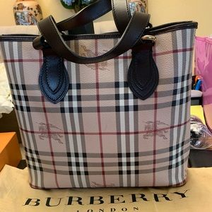 Burberry Signature Haymarket Tote with Dust Bag